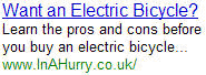 Electric Bicycle - InAHurry.co.uk
