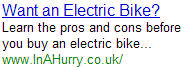 Electric Bike - InAHurry.co.uk